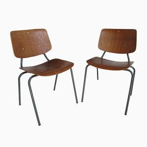 Vintage Industrial Teak Dining Chairs by Kho Liang Ie for Car, Set of 2