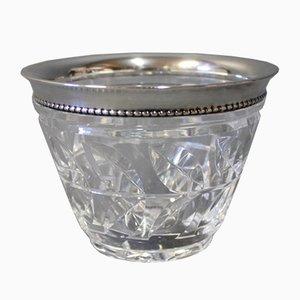 Dänische Schale aus Kristallglas mit Silbernem Rand, 1930er