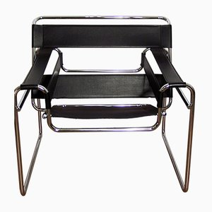 Wassily Armlehnstuhl aus Schwarzem Leder von Marcel Breuer für Habitat, 1970er