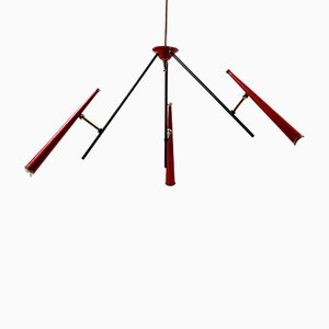 Italian Red Sputnik Ceiling Light, 1950s