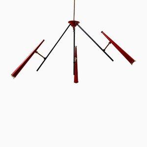 Italienische Rote Sputnik Deckenlampe, 1950er