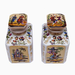 Antique Old Paris Chinoiserie Tea Caddies, Set of 2