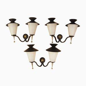 Applique da parete a forma di lanterne di Arlus, 1958, set di 3