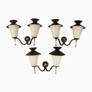 Lantern Wall Sconces from Arlus, 1958, Set of 3