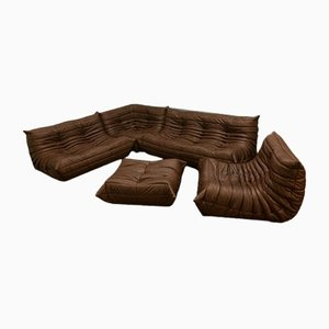 Vintage Brown Leather Togo Living Room Set by Michel Ducaroy for Ligne Roset, 1970s