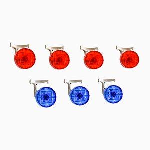 Crochets de Portemanteau Mid-Century Couleur Rouge et Bleu,1960s, Set de 7