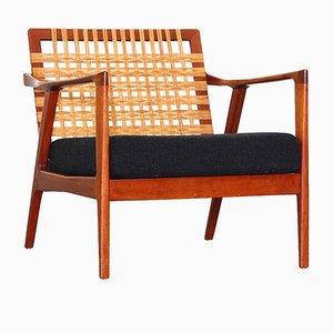 Dänischer Vintage Polsterstuhl mit Geflochtener Rückenlehne