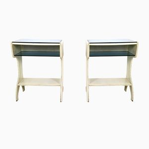 Mid-Century Italian Lacquered Wood and Glass Consoles, 1950s, Set of 2