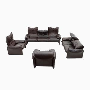 Vintage Leather Maralunga Seating Group by Vico Magistretti for Cassina, 1973, Set of 4