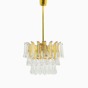 Lámpara de araña de vidrio y latón dorado de Ernst Palme, años 60