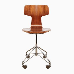 Mid-Century Danish 3103 Office Chair by Arne Jacobsen for Fritz Hansen