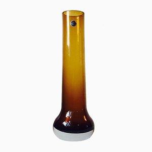 Jarrón Mid-Century de cristal ahumado amarillo de Bo Bergstrom para Aseda Glasbruk, años 60
