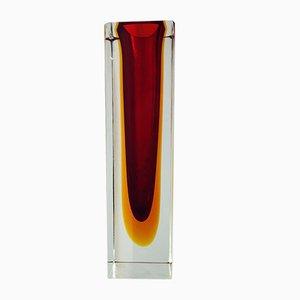 Triple Sommerso Murano Glass Vase by Alessandro Mandruzzato, 1980