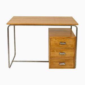 Vintage Bauhaus Desk in Beech and Tubular Steel, 1930s