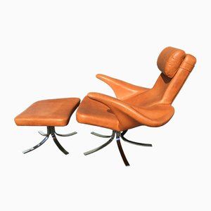 Vintage Seagull Chair and Ottoman by Gosta & Eriksson for Fritz Hansen