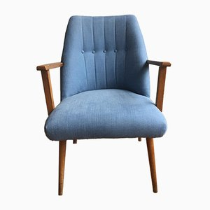 Faded Blue Fabric Chair, 1960s