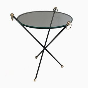Mid-Century Lacquered Metal, Brass and Glass Table by Jacques Adnet, 1950s