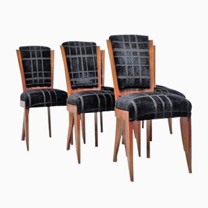 Art Deco Black Velvet Side Chairs, Set of 6