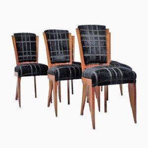 Schwarze Art Deco Stühle mit Samtbezügen, 6er Set