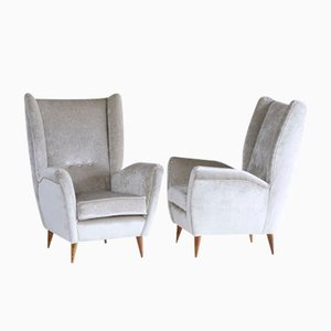Vintage Silver Grey Velvet High Back Armchairs by Gio Ponti, Set of 2