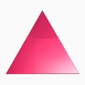 WOW Triangular Electric Pink Mirror by Dozen Design