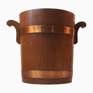 Mid-Century Danish Teak and Copper Champagne Ice Bucket, 1960s