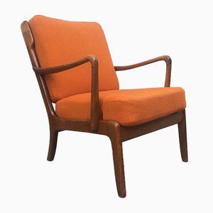 Mid-Century Danish Stained Oak Orange Easy Chair by Ole Wanscher for France & Daverkosen, 1950s