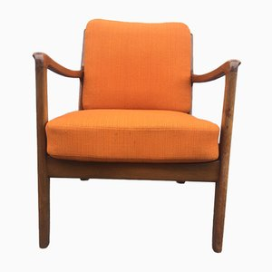 Mid-Century Danish Stained Oak Easy Chair by Ole Wanscher for France & Daverkosen, 1950s
