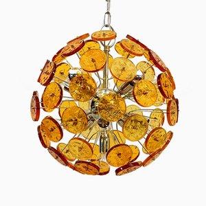 Lampadario Sputnick in vetro color ambra, anni '70