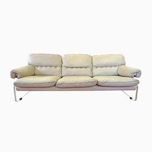 Sofá de cuero blanco y plexiglás, años 60