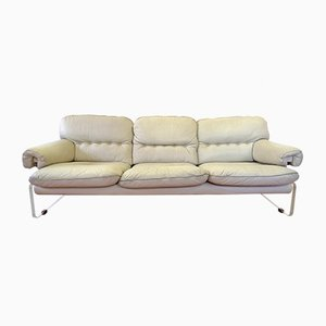 White Leather and Plexiglass Sofa, 1960s
