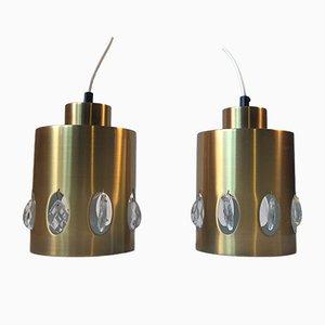 Luces colgantes danesas Mid-Century de cristal y latón de Vitrika, años 60. Juego de 2