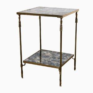 Table d'Appoint Vintage en Laiton et en Verre Flambé de Maison Jansen