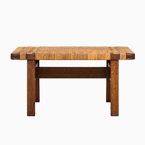 Table d'Appoint en Chêne et en Canne par Borge Mogensen pour Fredericia, 1950s