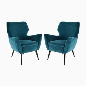 Italian Blue Velvet Armchairs, 1960s, Set of 2