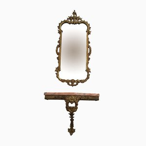 Consolle con specchio antico in ottone e marmo rosa, Italia