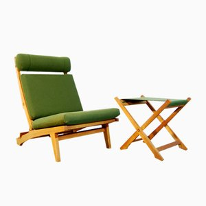 Danish AP71 Folding Lounge Chair & Footstool by Hans J. Wegner for AP Stolen, 1960s