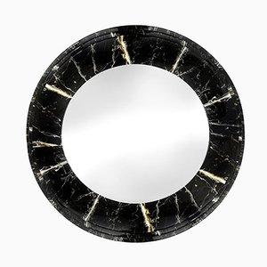 Credenza rotonda con effetto marmo, anni '80