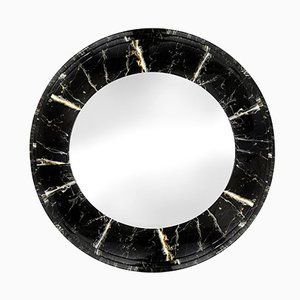 Faux Marble Round Mirror, 1980s