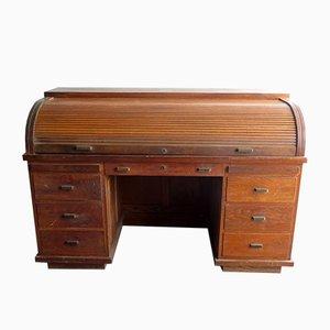Scrivania vintage in legno con maniglie in ottone
