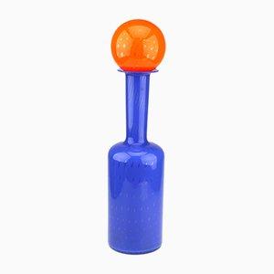 Brocca vintage in vetro artistico di Empoli arancione e blu