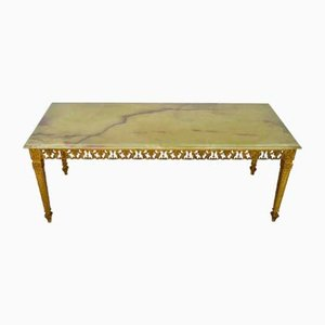 Green Onyx Marble & Brass Coffee Table, 1970s