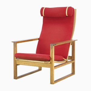 Red Lounge Chair by Borge Mogensen for Fredericia, 1970s