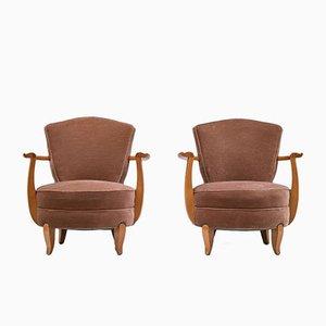 French Art Deco Cherry & Velvet Club Chairs, 1940s, Set of 2
