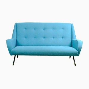 Türkisfarbenes Italienisches Zwei-Sitzer Sofa, 1950er