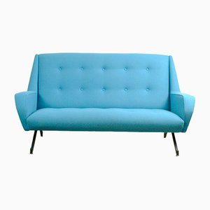 Turquoise Italian Two-Seater Sofa, 1950s