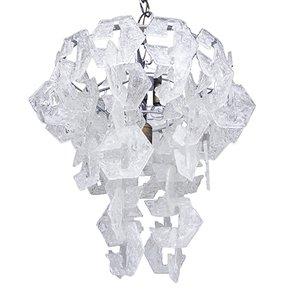 Lámpara de araña Interlocking grande de cristal de Murano, años 60