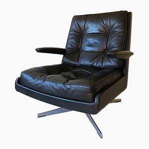 Danish Leather Lounge Swivel Chair, 1970s
