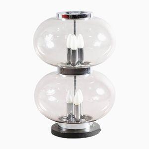 Lampada da tavolo grande con vetro affumicato di Doria, anni '70