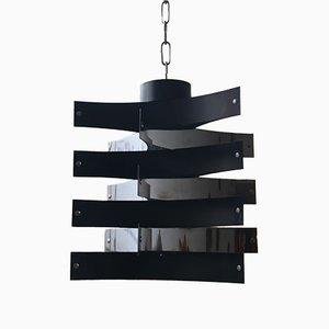 Italienische Mid-Century Hängelampe aus Schwarzem Aluminium